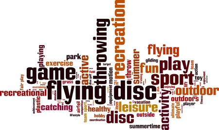 Flying disc word cloud concept. Vector illustration Illustration