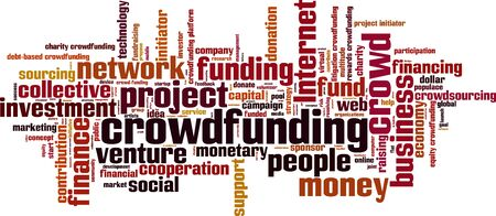 initiator: Crowdfunding word cloud concept. Vector illustration Illustration