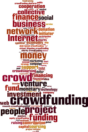 populace: Crowdfunding word cloud concept. Vector illustration Illustration
