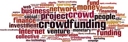 initiator: Crowdfunding word cloud concept. Vector illustration Illustration