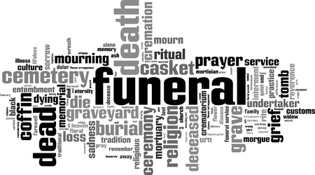 obituary: Funeral word cloud concept. Vector illustration Illustration