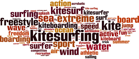 kite surf: Kitesurfing word cloud concept. Vector illustration