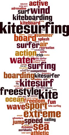 controll: Kitesurfing word cloud concept. Vector illustration