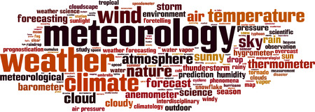 climatology: Meteorology word cloud concept. Vector illustration