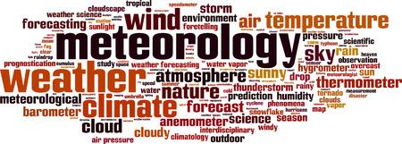 prognostication: Meteorology word cloud concept. Vector illustration