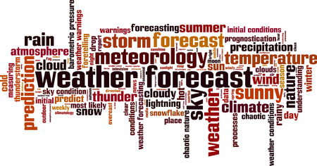 prognostication: Weather forecast word cloud concept. Vector illustration