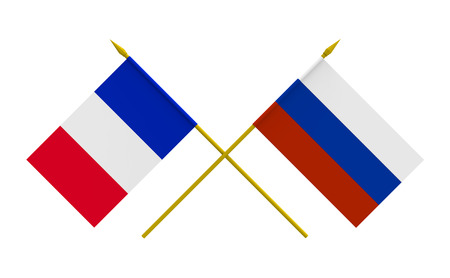 duel: Flags of France and Russia, 3d render, isolated