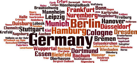 stuttgart: Cities in Germany word cloud concept. Vector illustration