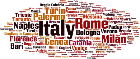 turin: Cities in Italy word cloud concept. Vector illustration Illustration