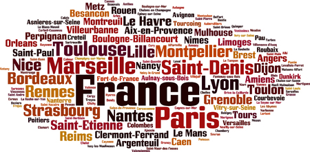 the settlement: Cities in France word cloud concept. Vector illustration