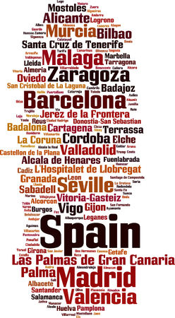 human settlement: Cities in Spain word cloud concept. Vector illustration
