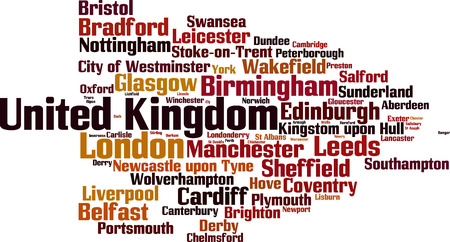 commune: Cities in United Kingdom word cloud concept. Vector illustration