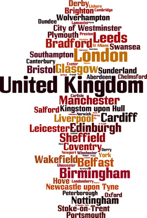 Cities in United Kingdom word cloud concept. Vector illustration
