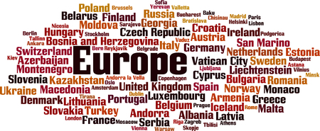 entity: Countries in Europe word cloud concept. Vector illustration