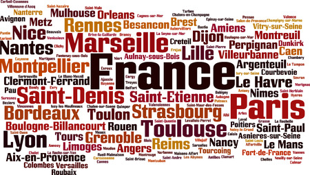 nice france: Cities in France word cloud concept. Vector illustration