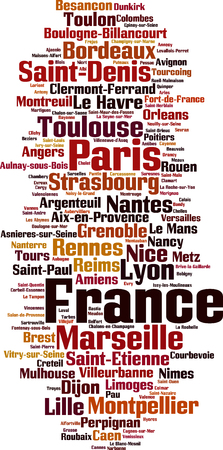 Cities in France word cloud concept. Vector illustration