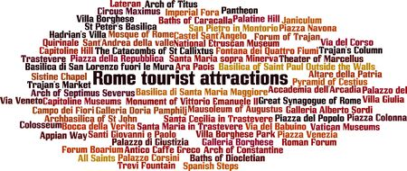 Rome tourist attractions word cloud concept. Vector illustration Vector