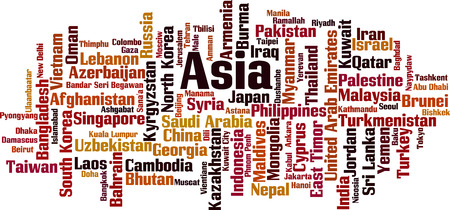 Countries in Asia word cloud concept. Vector illustration Illustration