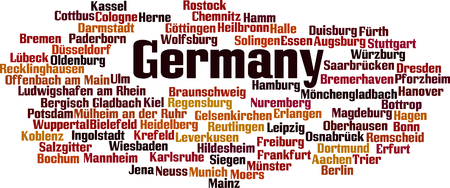 human settlement: Cities in Germany word cloud concept. Vector illustration