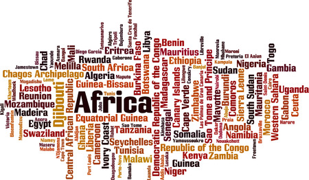 entity: Countries in Africa word cloud concept. Vector illustration