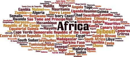 Los países de África concepto de nube de palabras. Ilustración vectorial