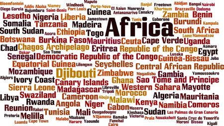 アフリカの単語の雲の概念の国。ベクトル イラスト