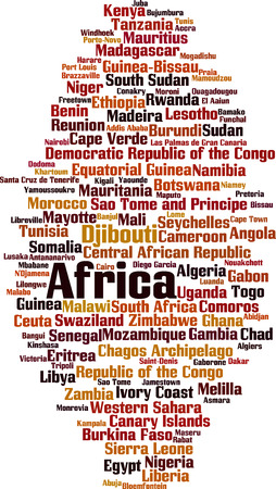 realm: Countries in Africa word cloud concept. Vector illustration
