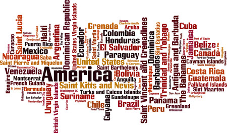 Countries in America word cloud concept. Vector illustration