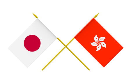 asian business meeting: Flags of Japan and Hong Kong, 3d render, isolated Stock Photo