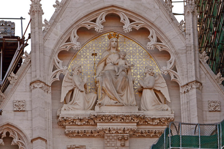 mary and jesus: Tympanum of the Cathedral of Assumption of the Blessed Virgin Mary in Zagreb, Croatia decorated with statues of the Virgin Mary, Jesus and angels Stock Photo
