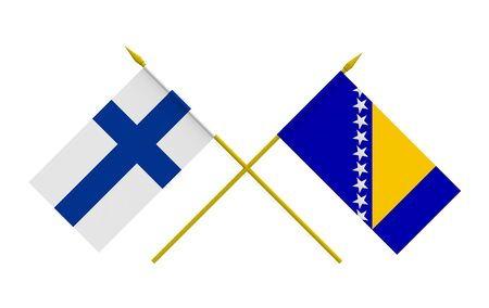 bosnian: Flags of Bosnia and Herzegovina and Finland, 3d render, isolated Stock Photo