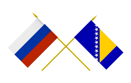 duel: Flags of Bosnia and Herzegovina and Russia, 3d render, isolated Stock Photo
