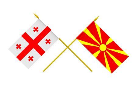 georgian: Flags of Georgia and Macedonia, 3d render, isolated
