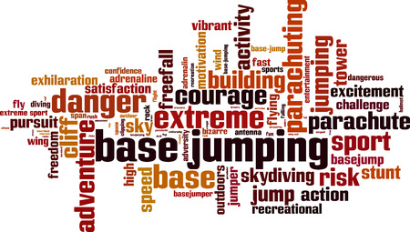 freefall: BASE jumping word cloud concept. Vector illustration