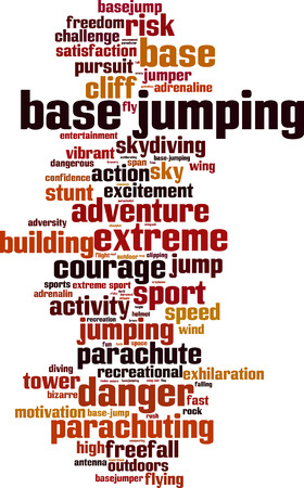 extremesport: BASE jumping word cloud concept. Vector illustration
