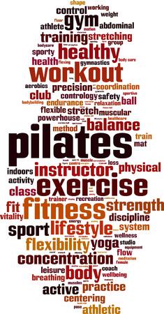 Pilates word cloud concept. Vector illustration Stock Illustratie