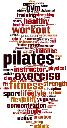 Pilates word cloud concept. Vector illustration Çizim