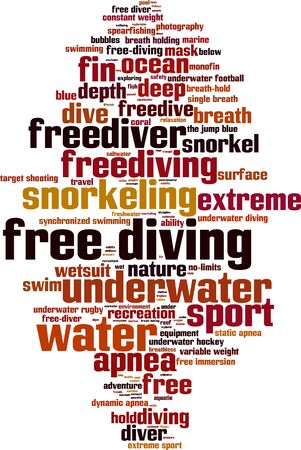 freediver: Free diving word cloud concept. Vector illustration