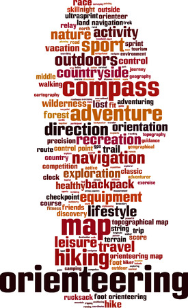 orienteering: Orienteering word cloud concept. Vector illustration