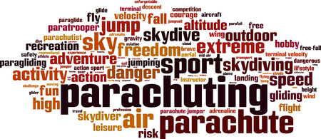 free fall: Parachuting word cloud concept. Vector illustration Illustration