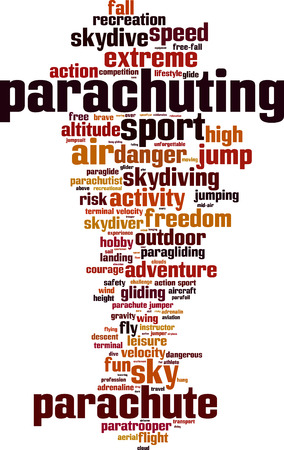 parachuting: Parachuting word cloud concept. Vector illustration Illustration