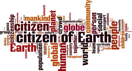 citizenry: Ciudadanos de la Tierra concepto de nube de palabras. Ilustraci�n vectorial