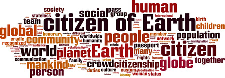 citizenry: Citizen of Earth word cloud concept. Vector illustration Illustration