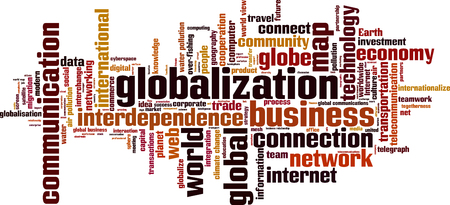 Globalization word cloud concept. Vector illustration Vettoriali