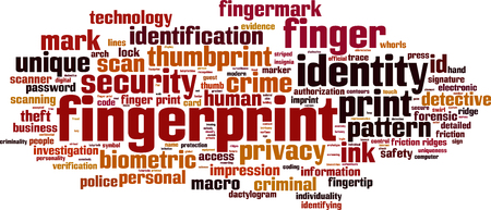 friction ridges: Fingerprint word cloud concept. Vector illustration