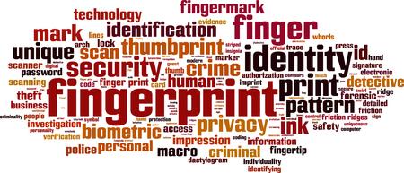 Fingerprint word cloud concept. Vector illustration