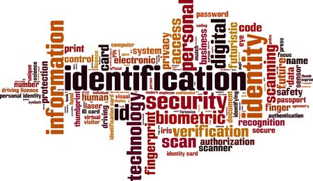 identifying: Identification word cloud concept. Vector illustration