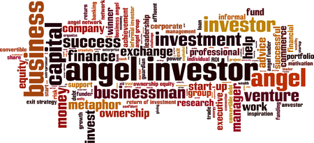 ownership equity: Angel investor word cloud concept. Vector illustration