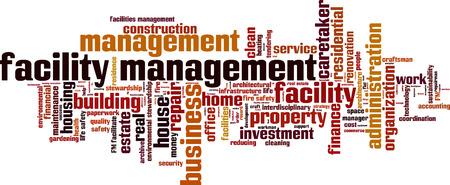 coordination: Facility management word cloud concept. Vector illustration Illustration