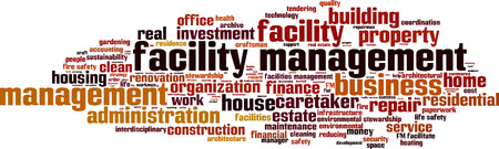 reducing: Facility management word cloud concept. Vector illustration Illustration